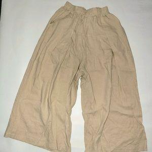 J&J cream wide legs pants w/organic cotton size S